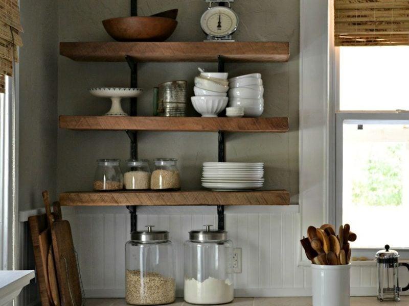 Küchenregale minimalistisch offene Holzregale