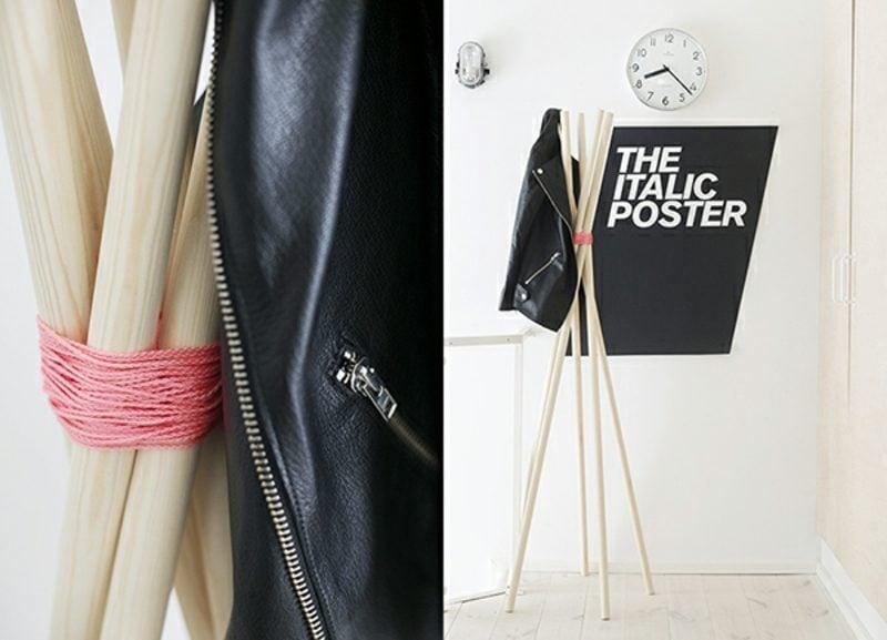 Kleiderhaken selber machen minimalistisch Holzstäbe