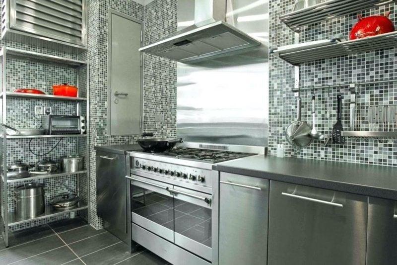 Küchenregale aus Metall Mosaikfliesen