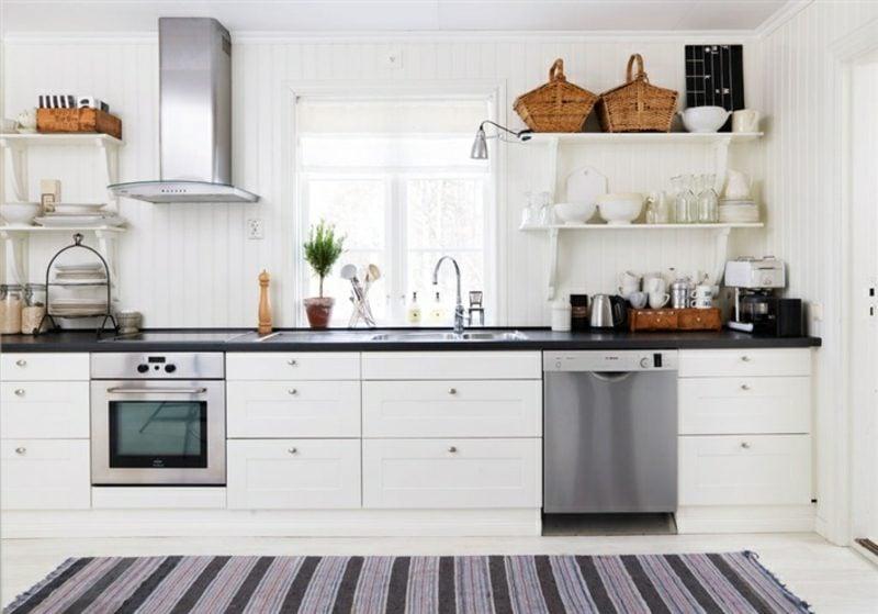 weisse Küchenregale offen praktisch