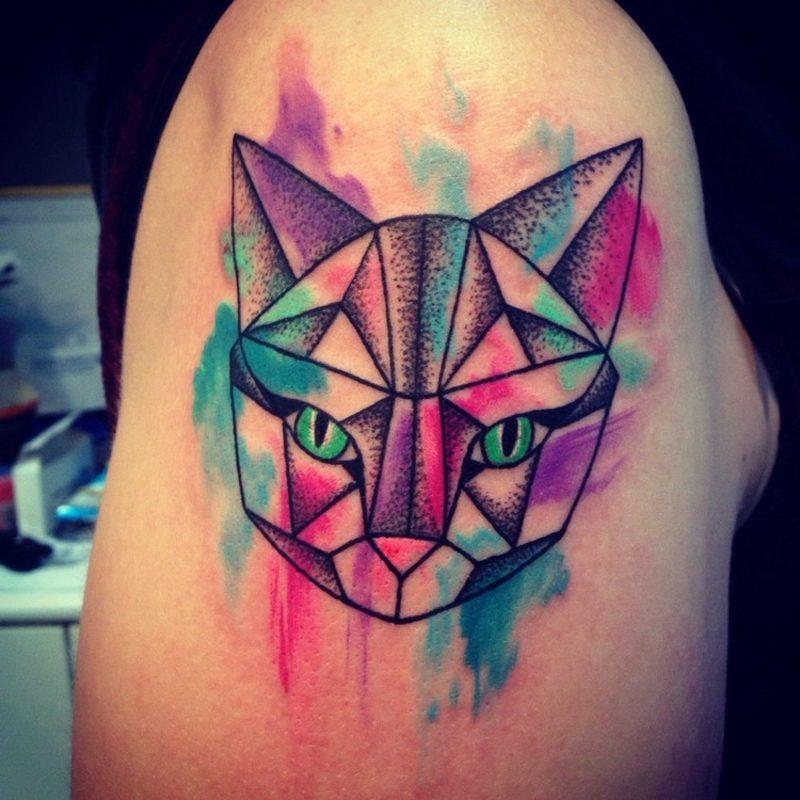 Tattoo Katze originell geometrisch Wasserfarben