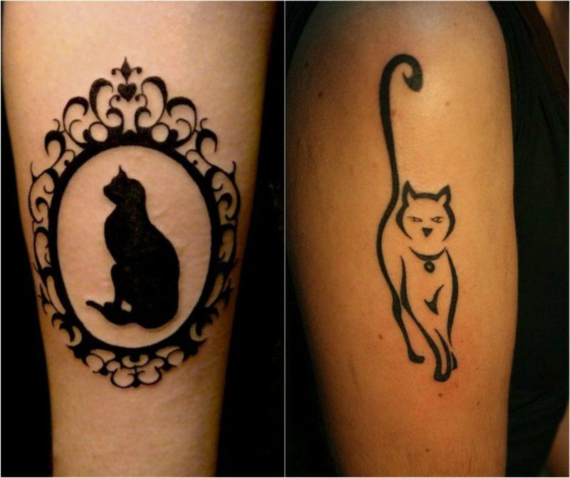 Tattoo Katze schwarz Spiegelrahmen Silhouette