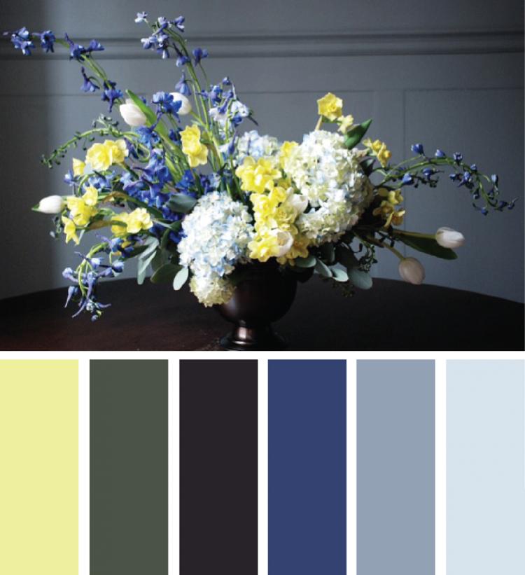 Khaki Farbe kombinieren Gelb Blau Grau