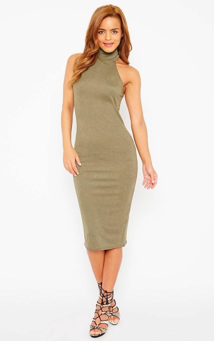 Khaki Farbe elegantes Kleid