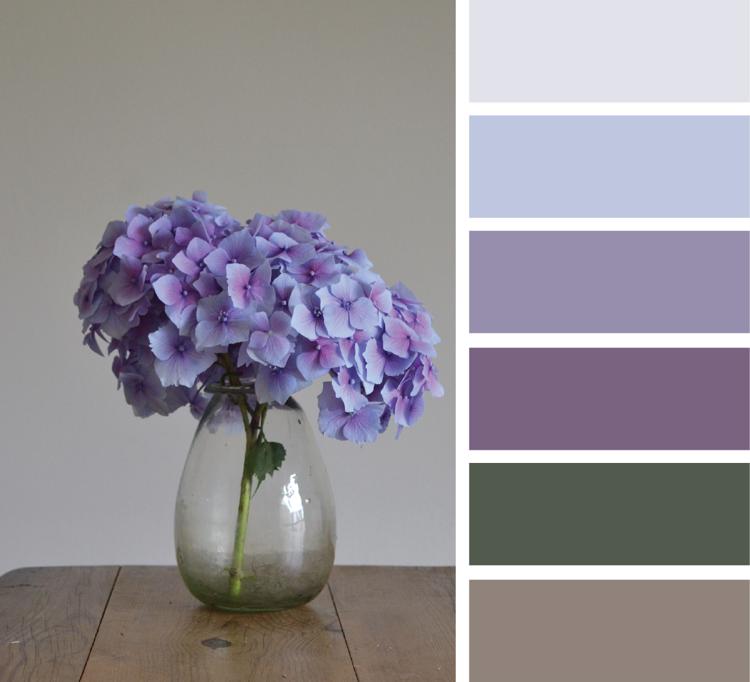 Khaki Farbe kombinieren Lavendel Hellblau Flieder