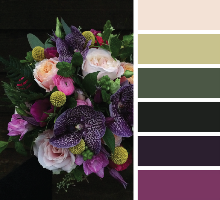 Khaki Farbe kombinieren Pflaumenlila Sandfarbe Hellgrün