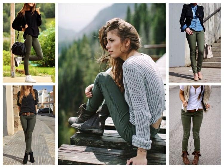 Khaki Farbe in Kombination mit Schwarz und Weiss Damenmode