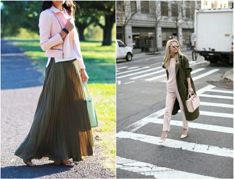 Khaki Farbe in Kombination mit Pastellnuancen Damenmode