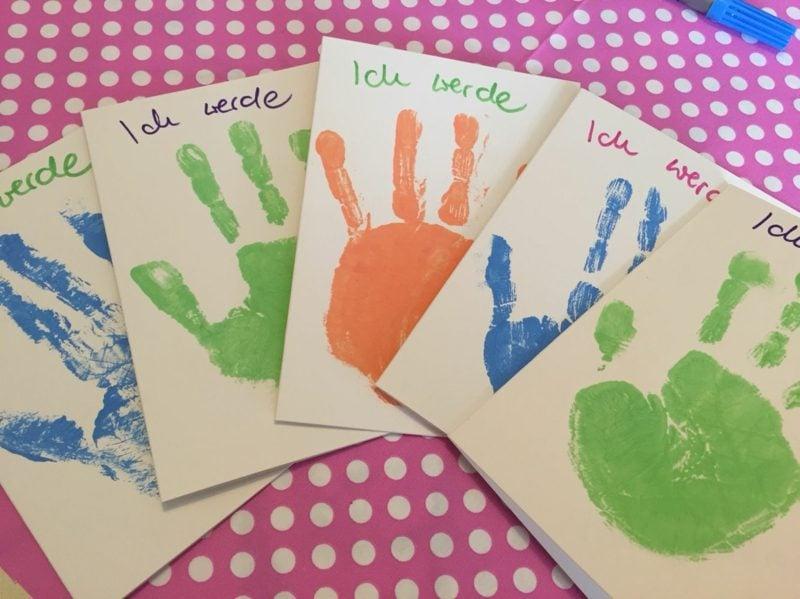 Einladung Kindergeburtstag mit Handabdruck kreativ
