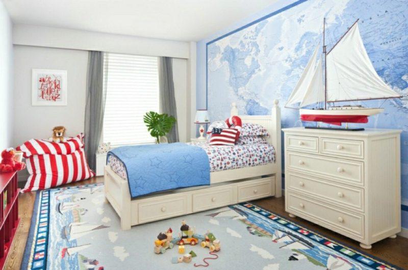 Kinderzimmer Streichen Pastellbalu Weltkarte
