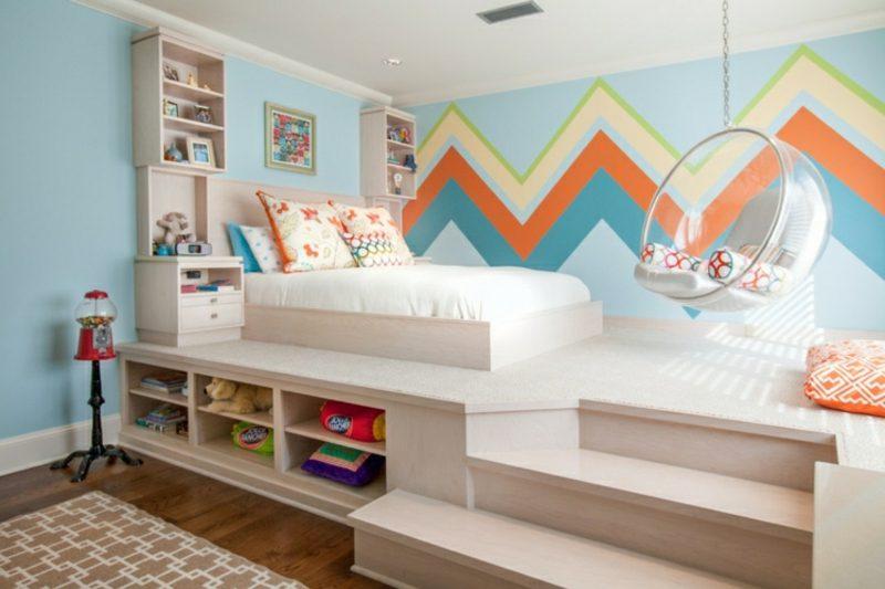 Kinderzimmer streichen Zick Zack Muster herrlicher Look