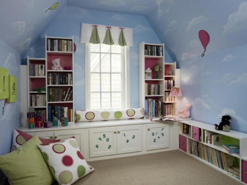 Kinderzimmer streichen Himmelblau Wolken