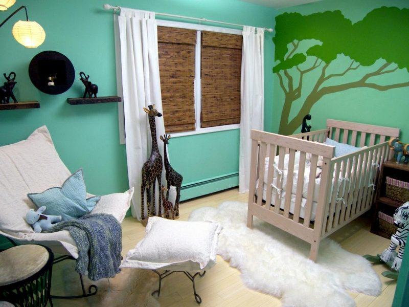 Kinderzimmer streichen Minzgrün intensiv
