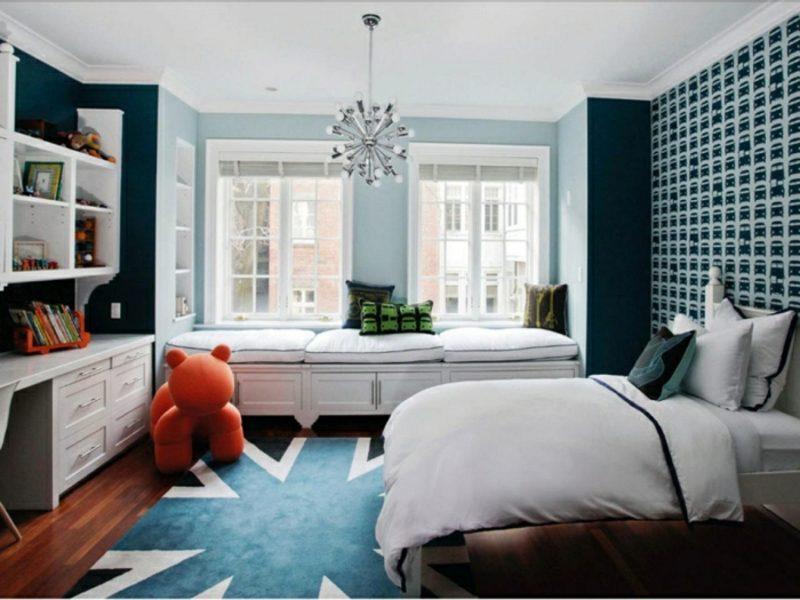Kinderzimmer streichen pastelliges Blau Tapeten