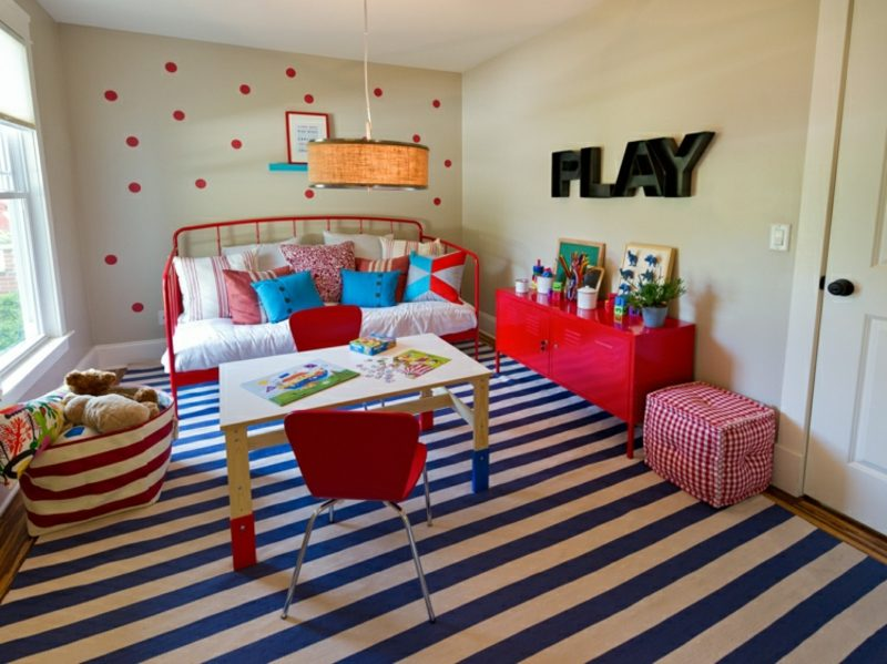 Kinderzimmer streichen Neutralfarben Punktenmuster