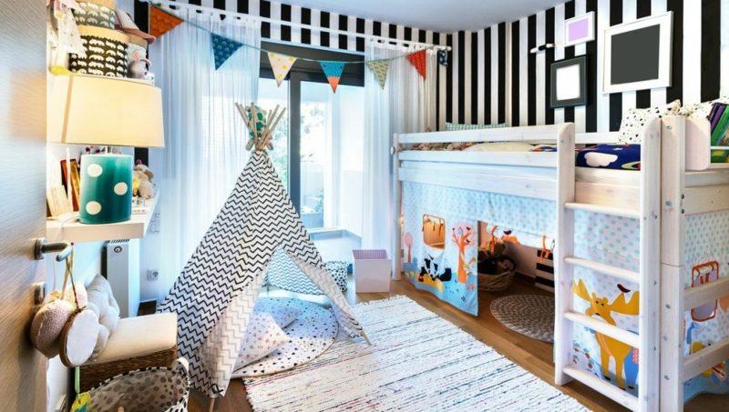 Kinderzimmer streichen Streifenmuster vertikal