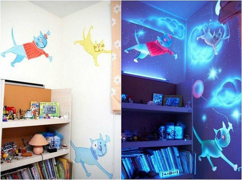 Kinderzimmer streichen fluoreszierende Farben