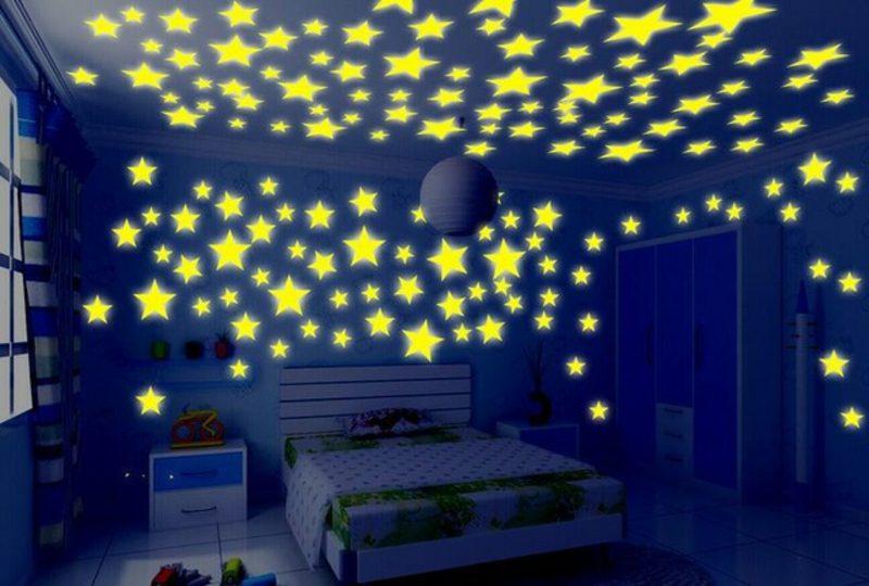 Kinderzimmer streichen fluoreszierende farben Sternenhimmel