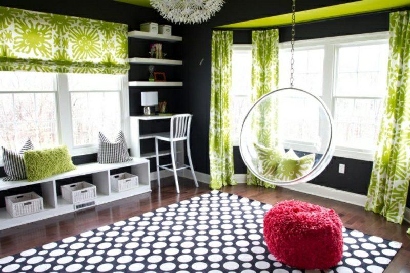 Kinderzimmer streichen giftgrüne Akzente