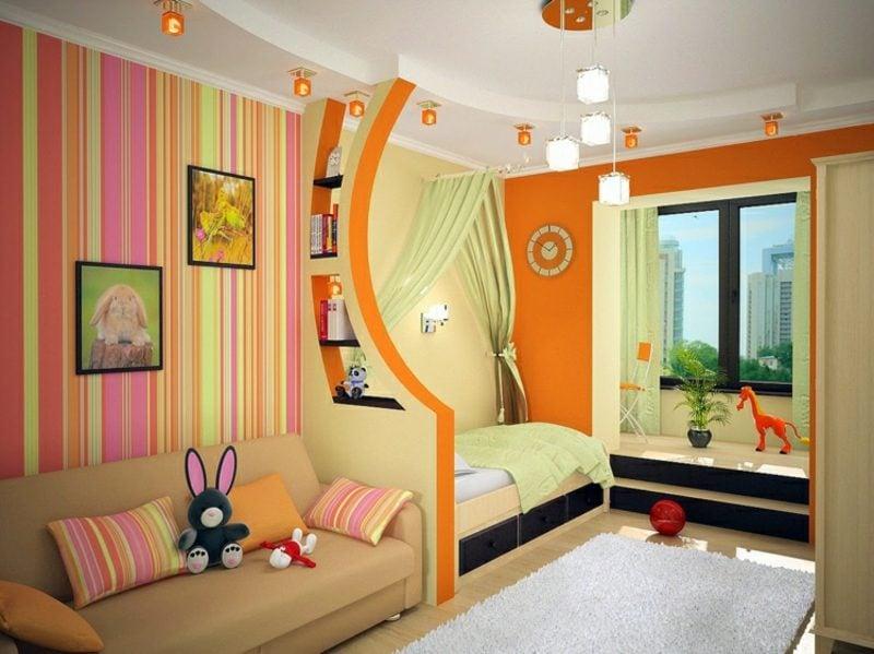 Kinderzimmer streichen Raumteiler kräftige fraben