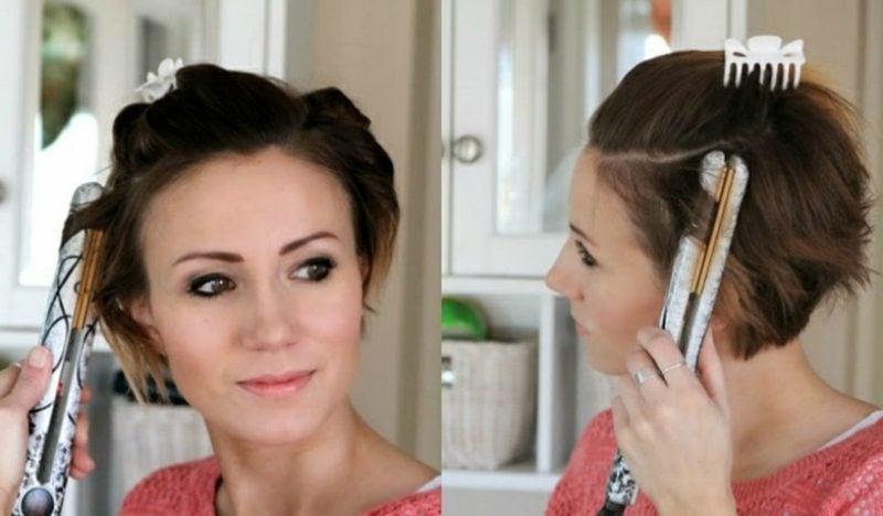Kurze Haare locken mit dem Glätteisen Anleitung
