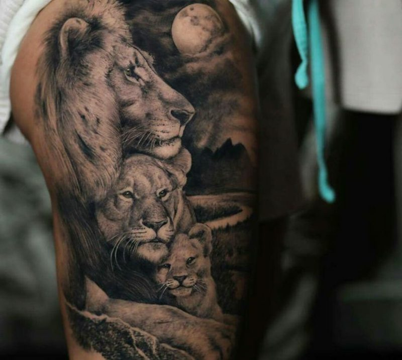 Tattoo Löwe Familie originelle Idee