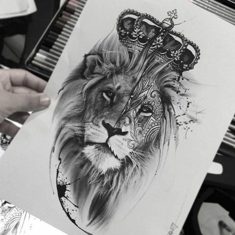 Tattoo Löwe mit Krone Vorlage