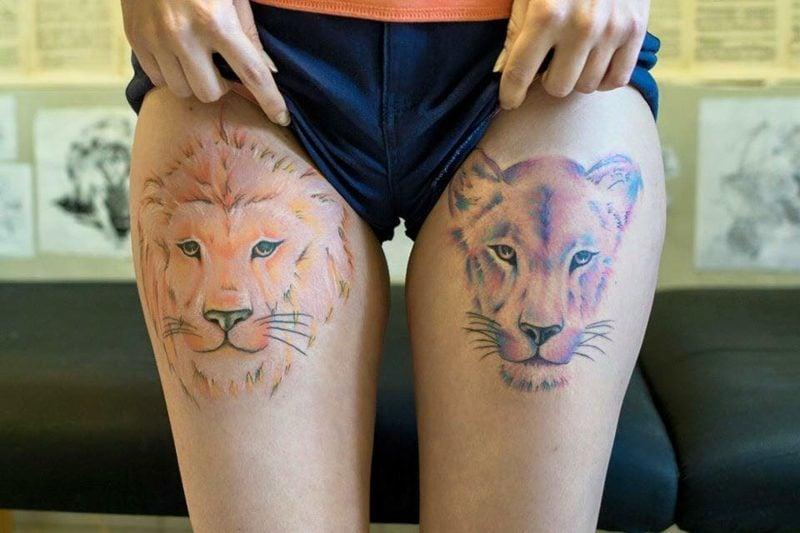 Tattoo Löwe Oberschenkel