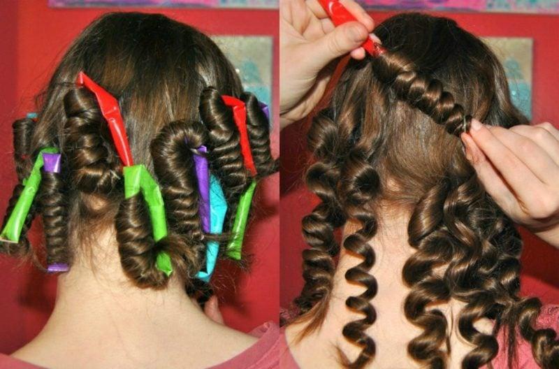 Kurze Haare locken Strohhalmen Anleitung