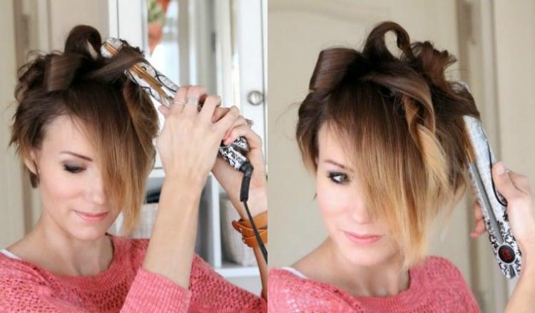 Kurze Haare locken Anleitung Glätteisen