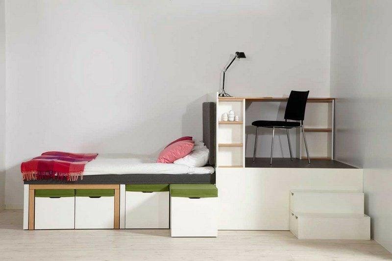 platzsparende Möbel Einzimmerwohnung Designer minimalistisch