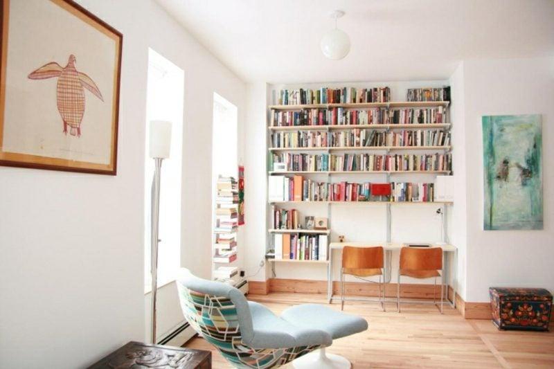 platzsparende Möbel Schreibtisch Bibliothekenwand praktisch