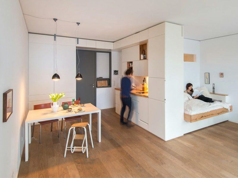 platzsparende Möbel Einzimmerwohnung Raumteiler