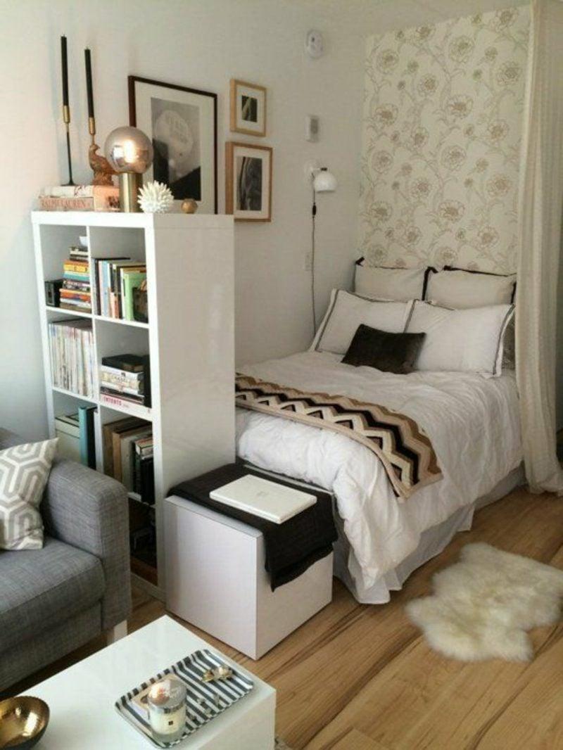platzsparende Möbel Einzimmerwohnung Bett kompakt Raumteiler