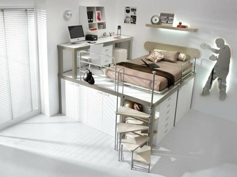 platzsparende Möbel kompakt Bett Homeoffice Einzimmerwohnung