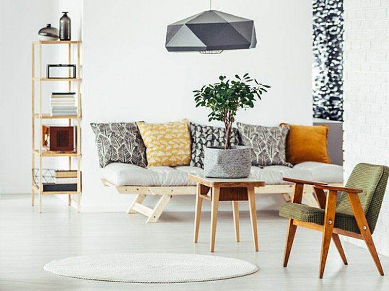 platzsparende Möbel Schlafcouch skandinavischer Stil