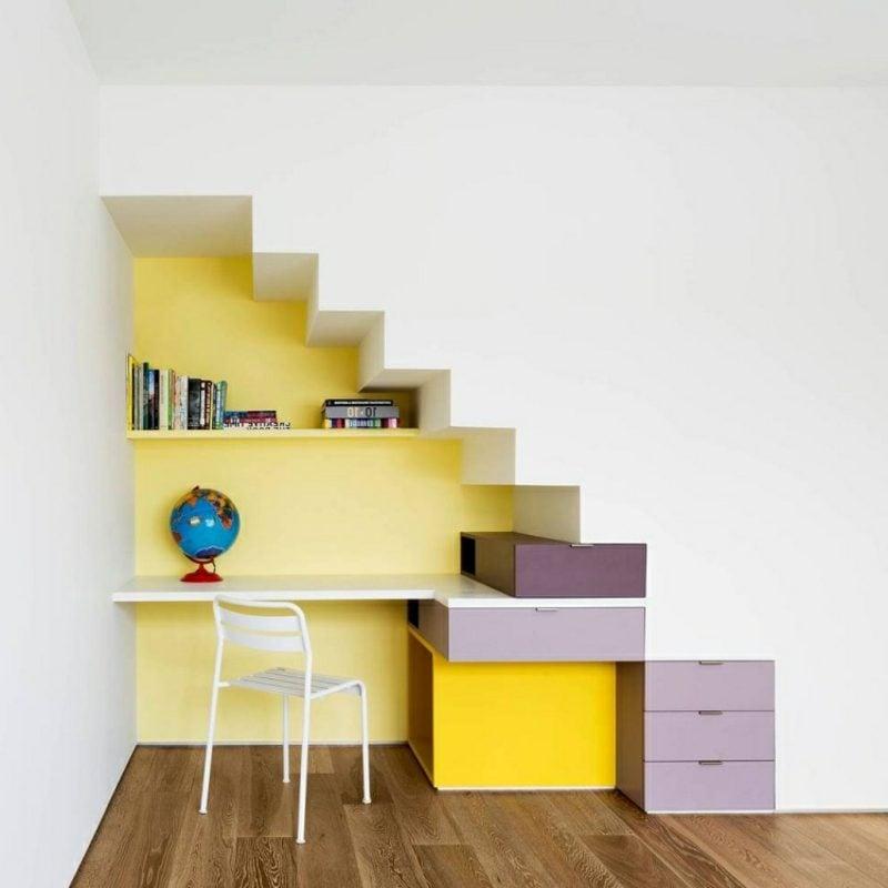 platzsparende Möbel Homeoffice unter der Treppe