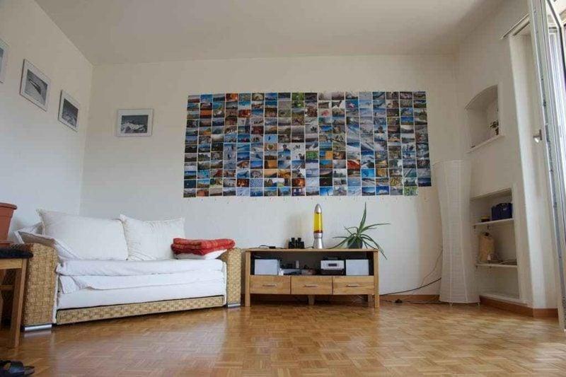 Fotowand gestalten ohne Bilderrahmen Magnet wand Wohnzimmer
