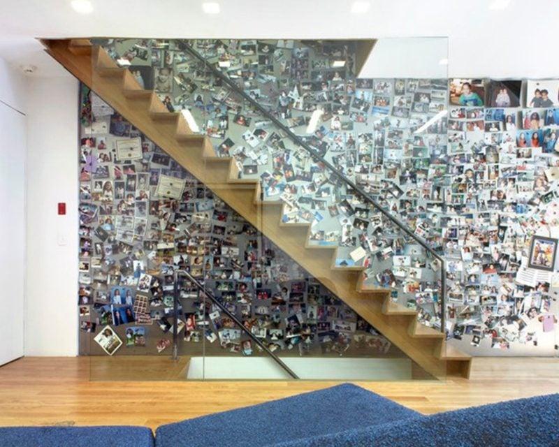 Fotowand gestalten ohne Bilderrahmen Magnetwand Treppe
