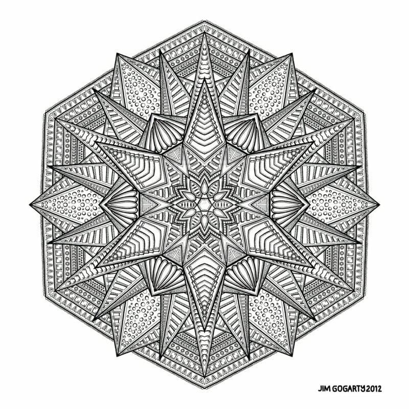 Mandalas zum Ausdrucken Stern kompliziert