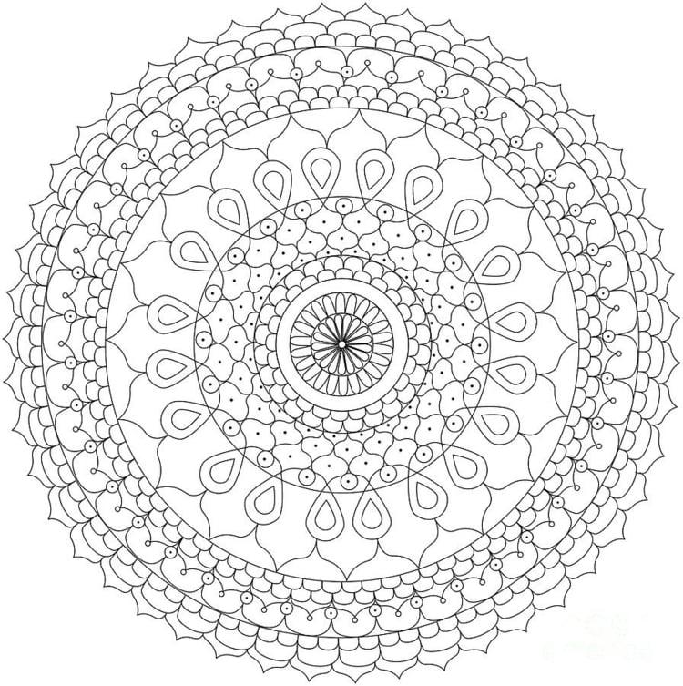 Mandalas zum Ausdrucken Blumenmotiv kompliziert