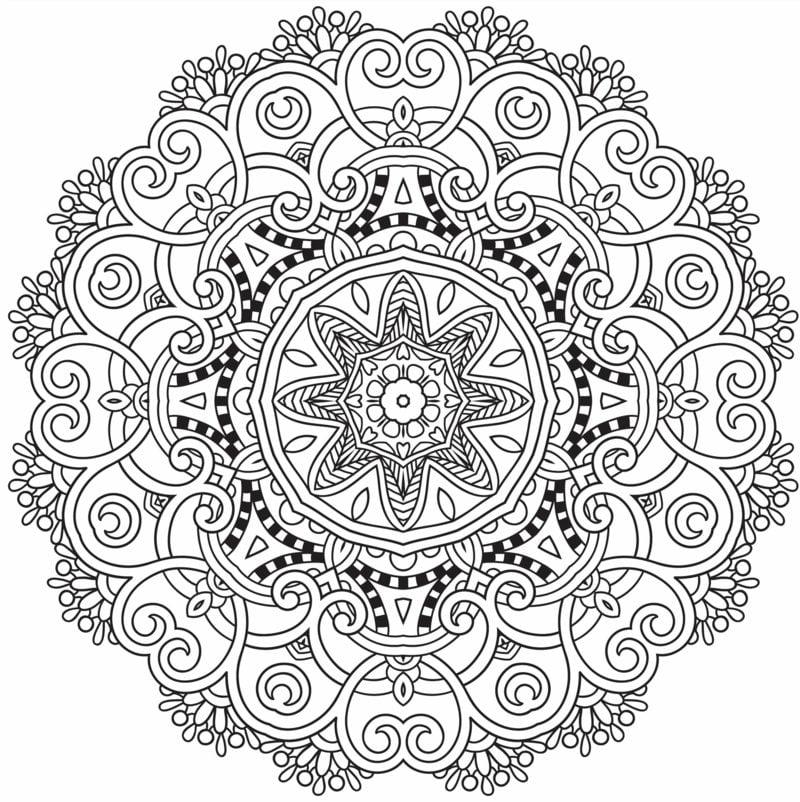 Mandalas zum Ausdrucken Blumenmuster schwierig