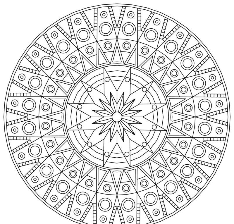 Mandalas zum Ausdrucken Sternenmuster Kreise