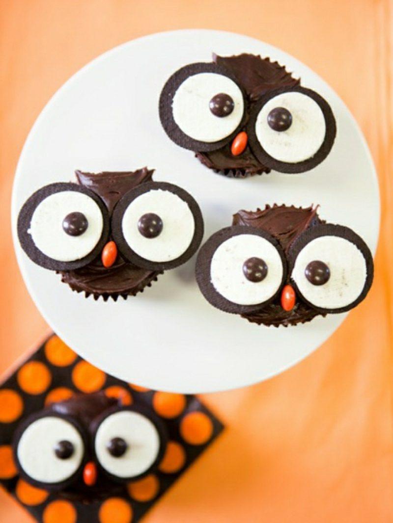 Halloween Muffins Rezept lustige Eulen