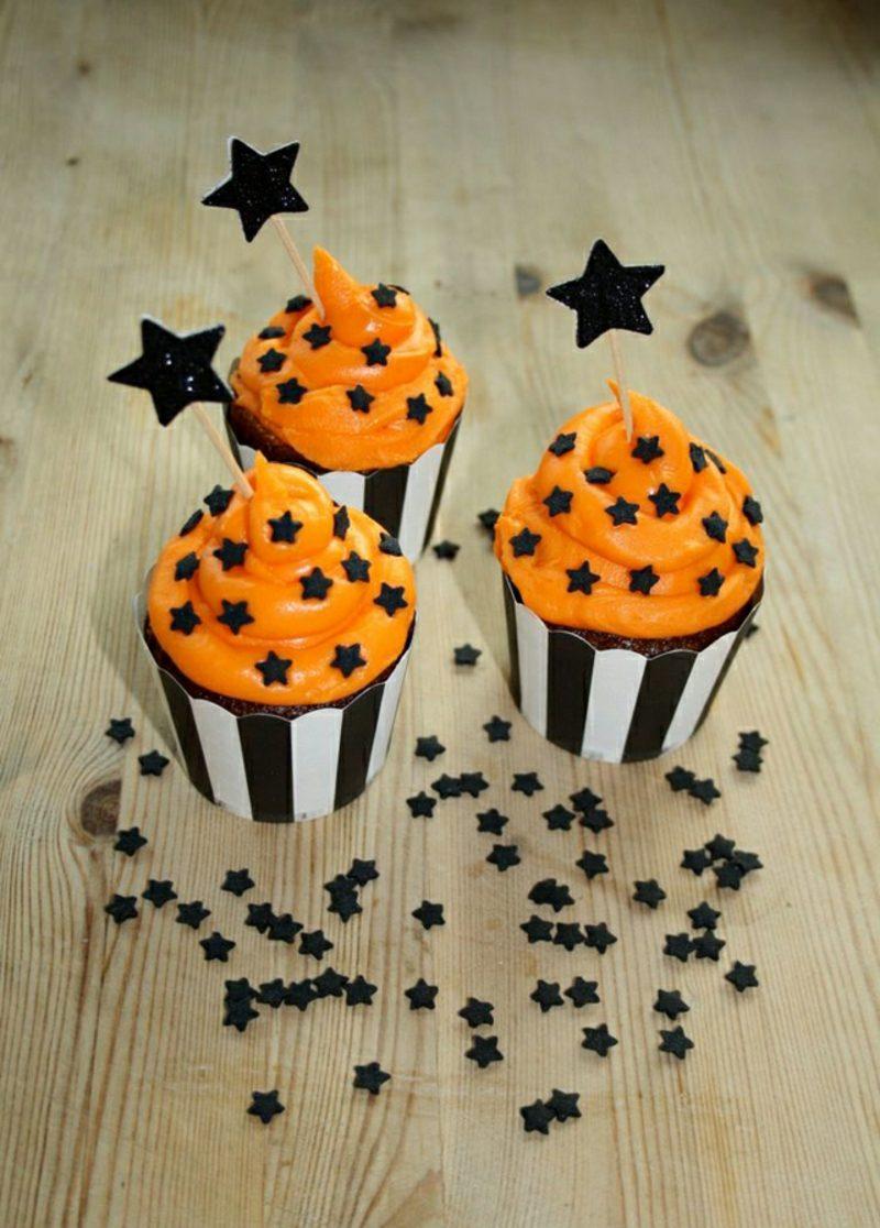 Halloween Muffins Rezept orange Frosting Sternchen