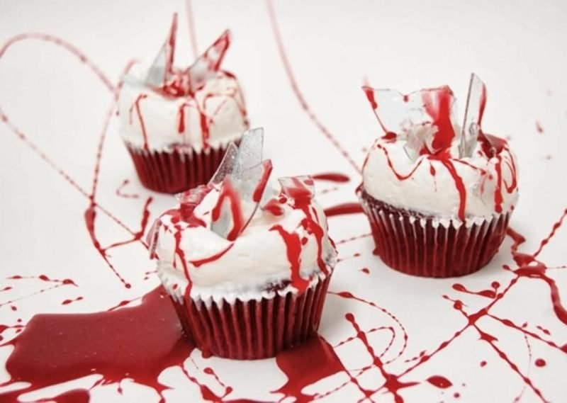 Halloween Muffins Rezept Glasscherben Blutspuren