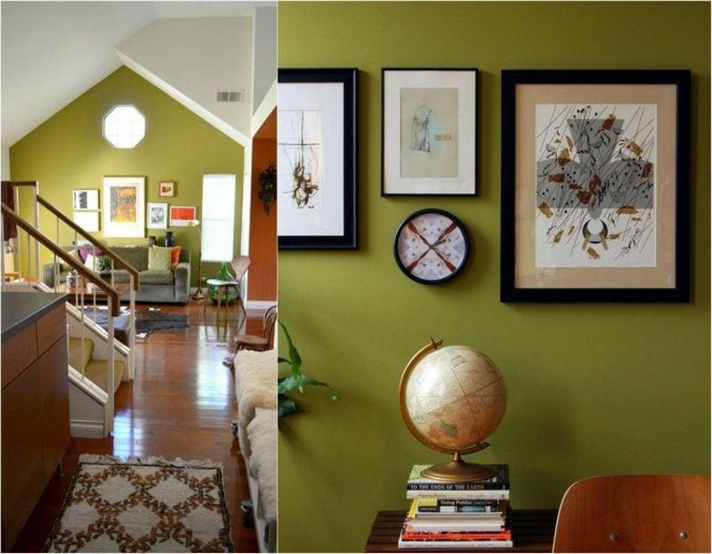 Olivgrün vs Farbe Salbei Wohnzimmer