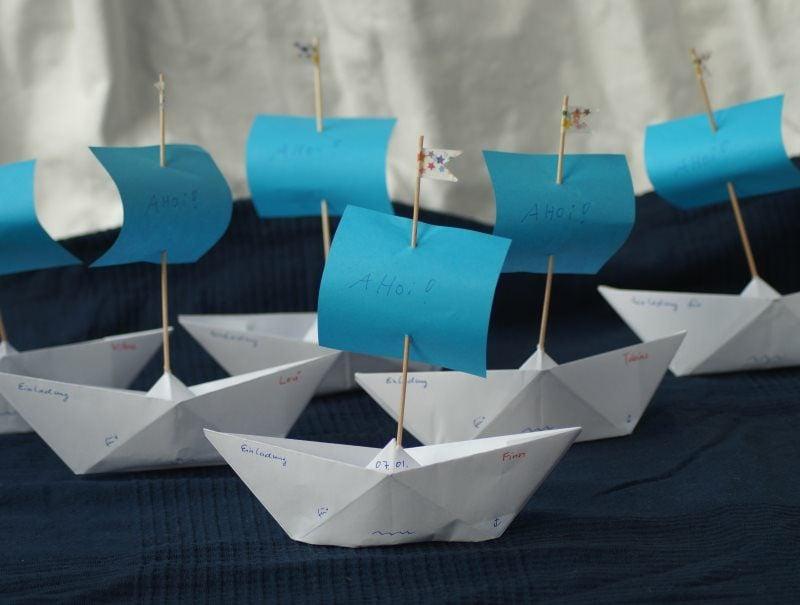 Einladung Kindergeburtstag Segelschiffe Papier