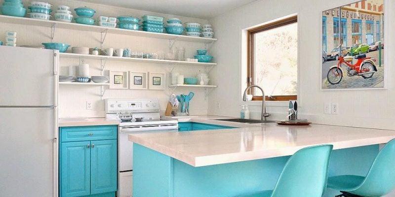 Küchenregale weiss blau