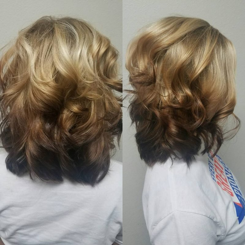 Ombre Braun Reverse kurzes Haar wellig